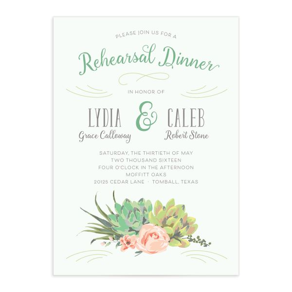 Romantic Succulents rehearsal dinner invite grn