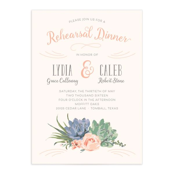 Romantic Succulents rehearsal invite pnk