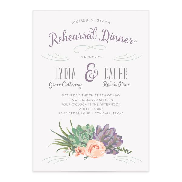 Romantic Succulents rehearsal invite pur