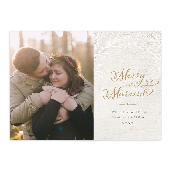 Rustic Birch holiday card front