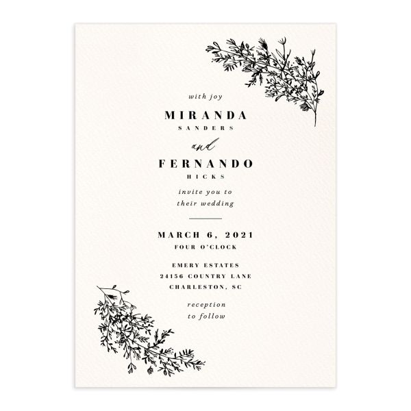 Botanical branches wedding invitations in black
