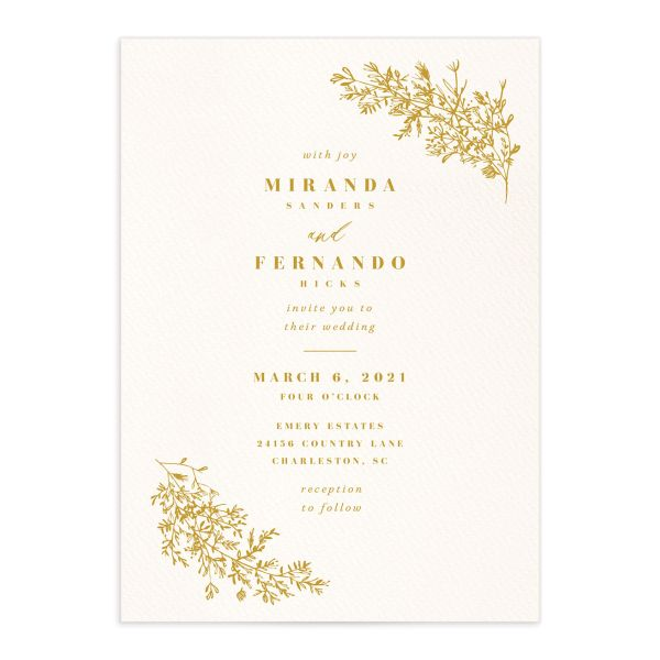 Botanical branches wedding invitations in mustard yellow