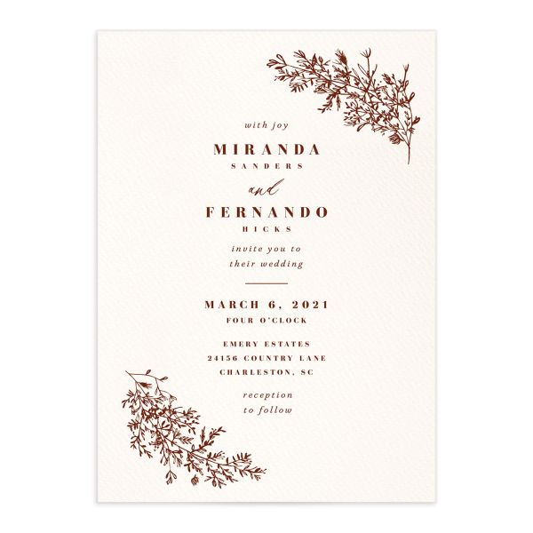 Botanical Branches wedding invite in rust