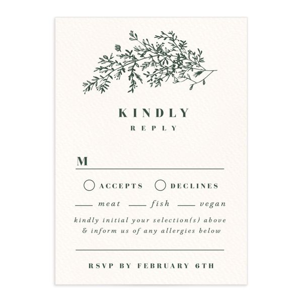 Botanical Branches wedding response card in green front