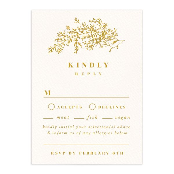 Botanical Branches wedding response card in mustard front
