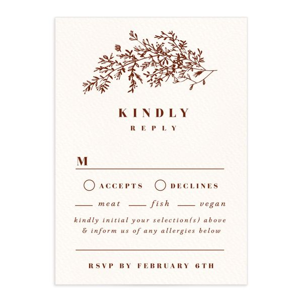 Botanical Branches wedding response card in rust front