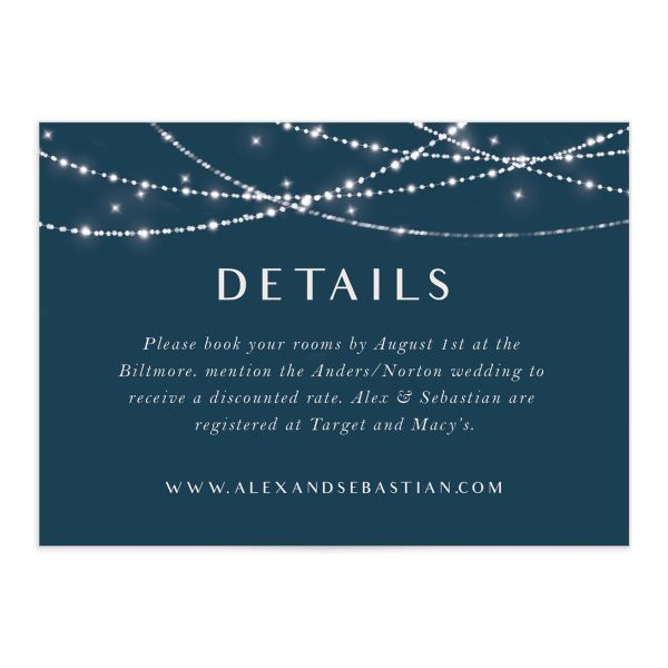 Elegant lights wedding enclosure cards