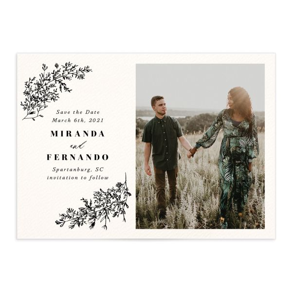 botanical branches photo save the dates in black