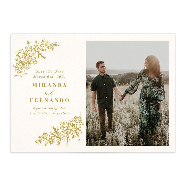 botanical branches photo save the dates in mustard