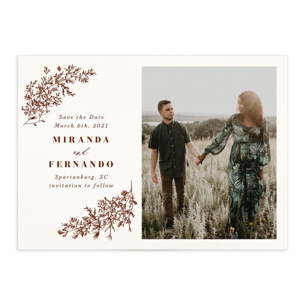 botanical branches photo save the date cards in rust