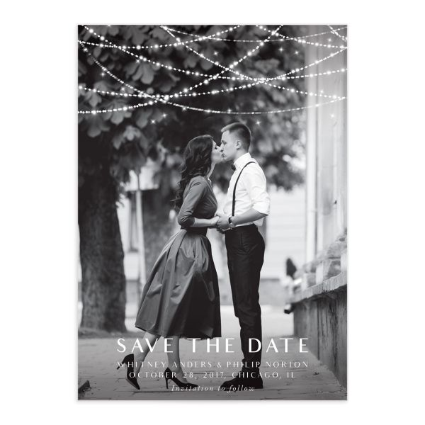 elegant lights photo save the date cards