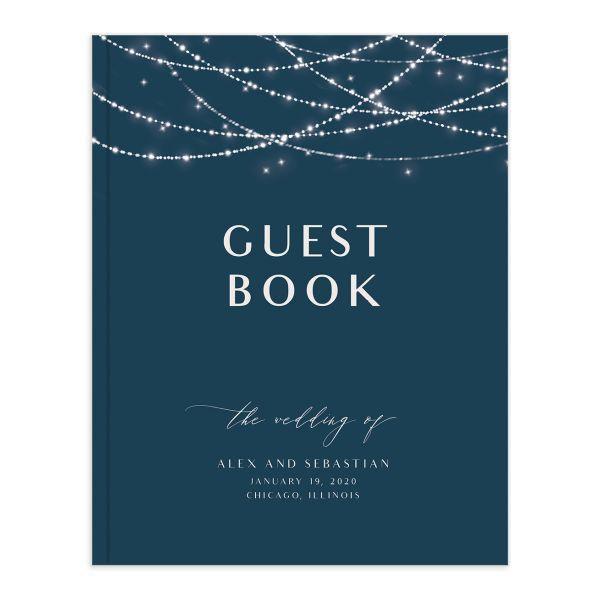 elegant lights wedding guest book