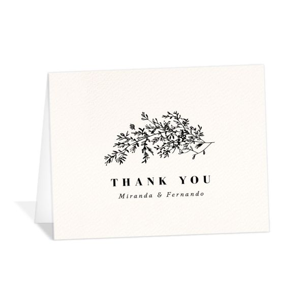 Botanical branches wedding thank you cards
