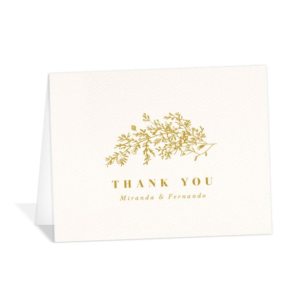 Botanical branches wedding thank you cards in yellow
