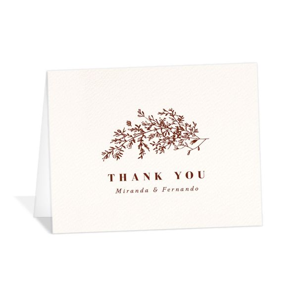 botanical branches wedding thank you cards in rust