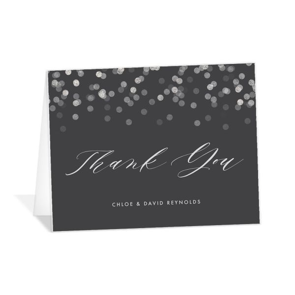 elegant glow thank you cards in grey