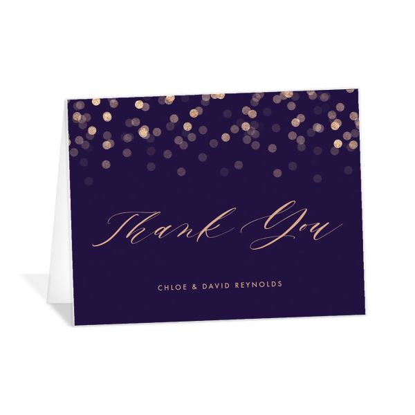 elegant glow thank you cards in purple