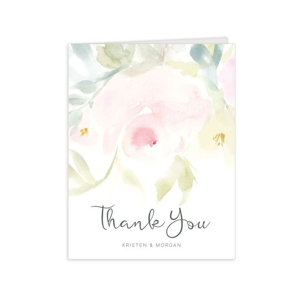 romantic watercolor wedding thank you cards