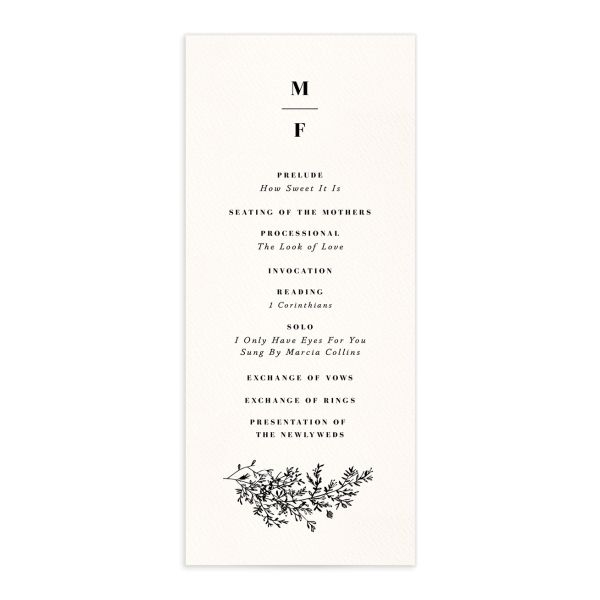 Botanical Branches wedding program front in black