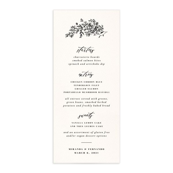 Botanical Branches wedding menu front in black