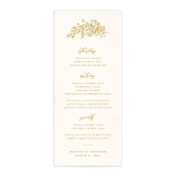 Botanical Branches wedding menu front in yellow