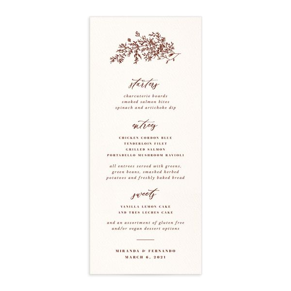 Botanical Branches wedding menu front in rust