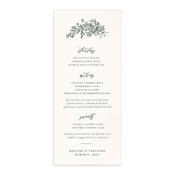 Botanical Branches wedding menu front in green