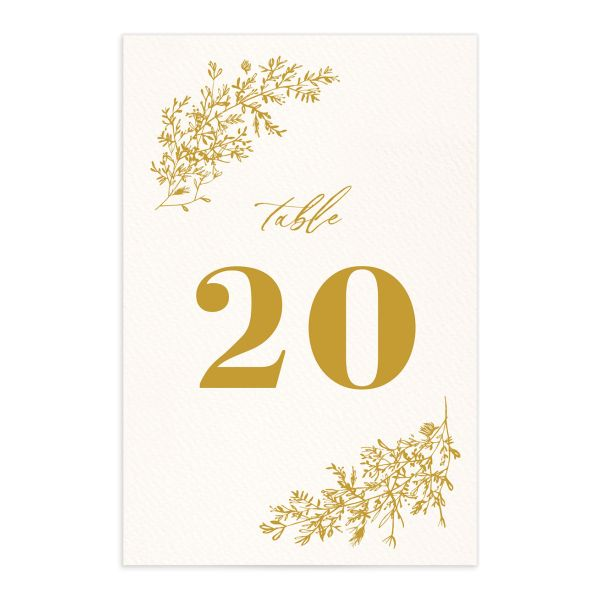 Botanical Branches wedding table number front in mustard