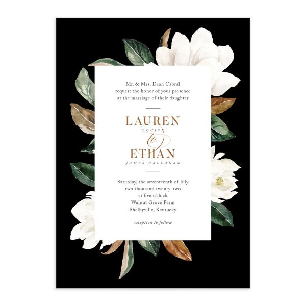 painted magnolia wedding invitations in black
