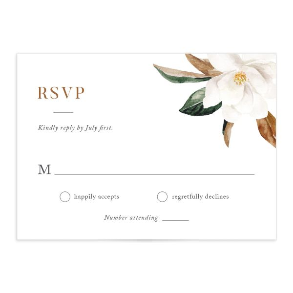 painted magnolia wedding response cards