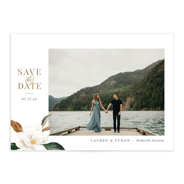 painted magnolia photo save the date card