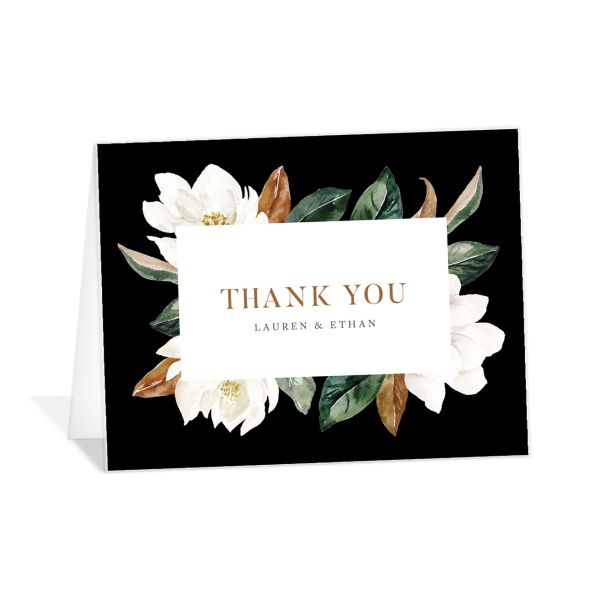 painted magnolia wedding thank you cards in black
