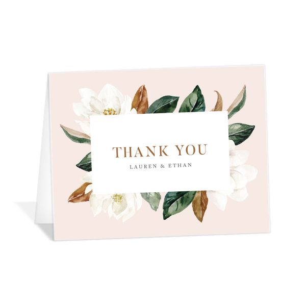 painted magnolia wedding thank you cards in pink