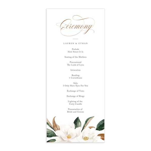 painted magnolia wedding programs in black