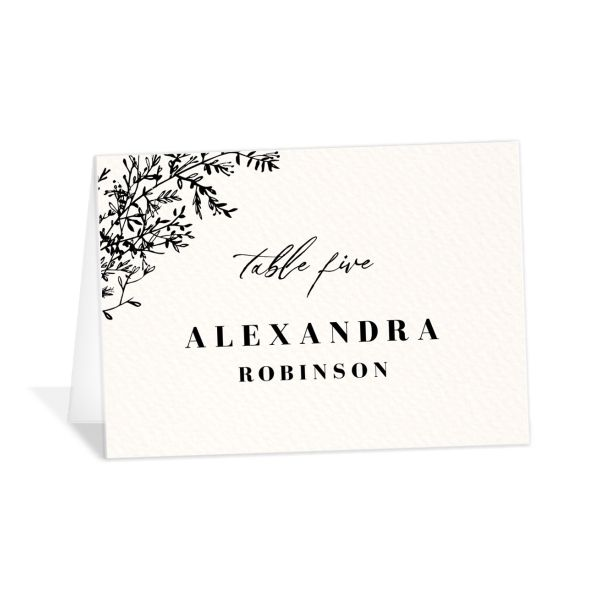 Botanical Branches Wedding Escort Cards in black