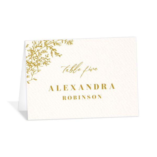 Botanical Branches Wedding Escort Cards in mustard