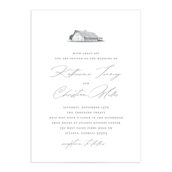 Classic Landscape Wedding Invitation front in Barn