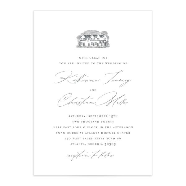 Classic Landscape Wedding Invitation front in Estate