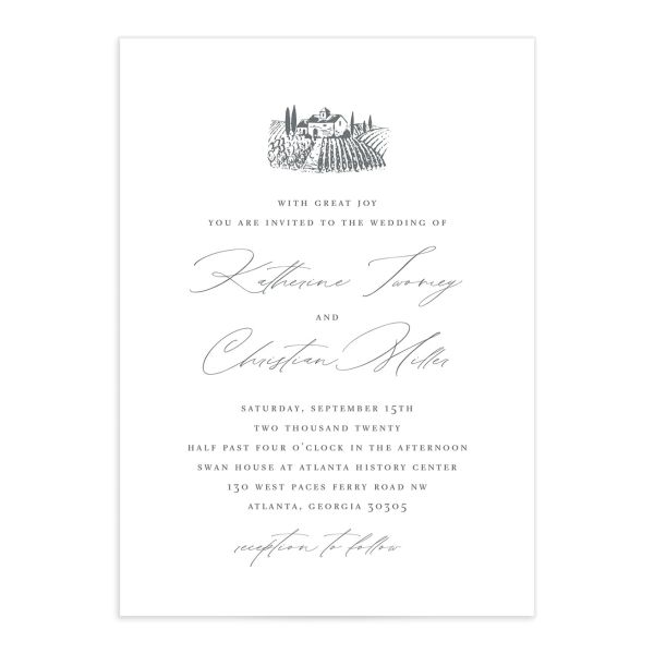 Classic Landscape Wedding Invitation front in Vineyard