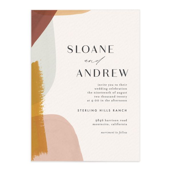 Abstract Watercolor wedding invitation front in gold