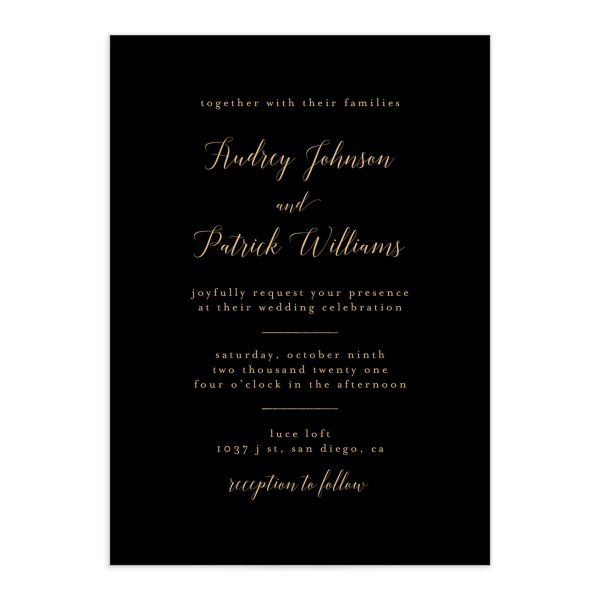 Marble and Gold Wedding Invite in black