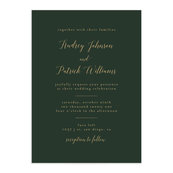 Marble and Gold Wedding Invitation front in green