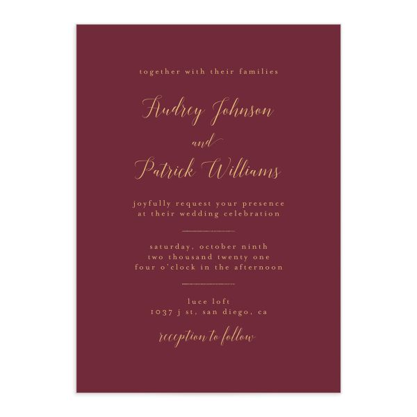 Marble and Gold Wedding Invitation front in red