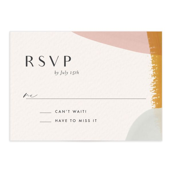 Abstract Watercolor wedding response card front in gold