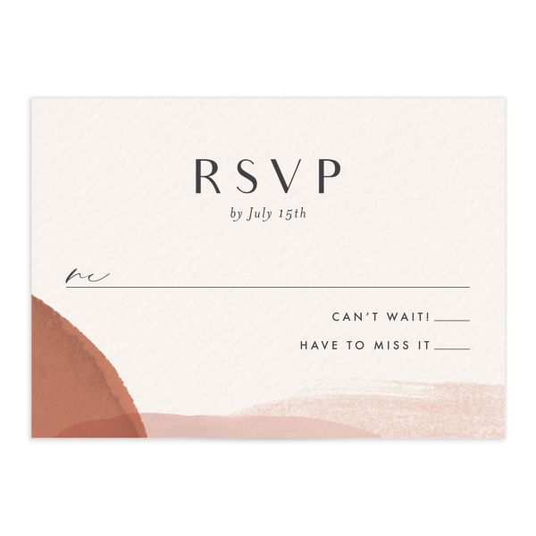 Abstract Watercolor wedding response card front in teal