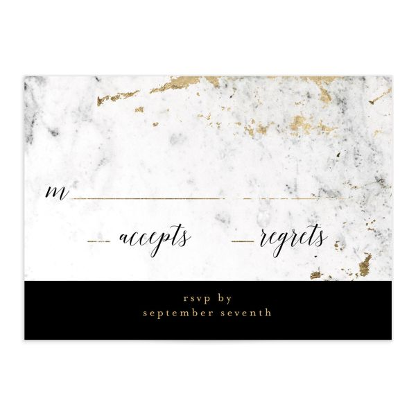 Marble and Gold Wedding Response Card front in black