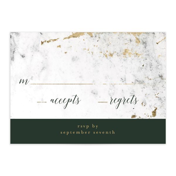 Marble and Gold Wedding Response Card front in green