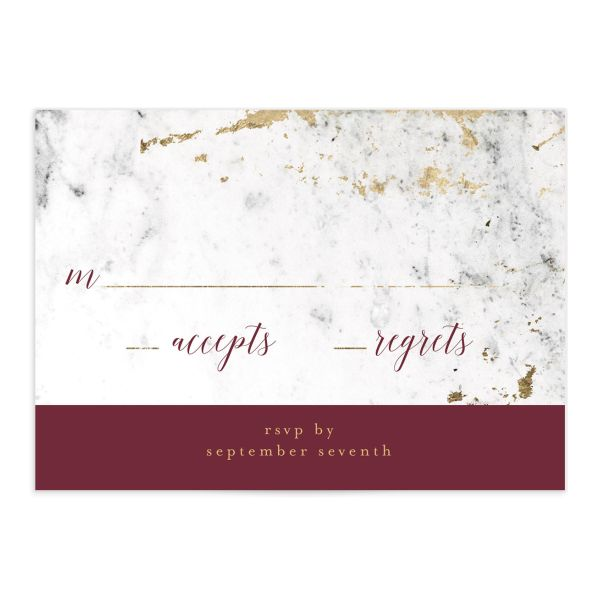 Marble and Gold Wedding Response Card front in red