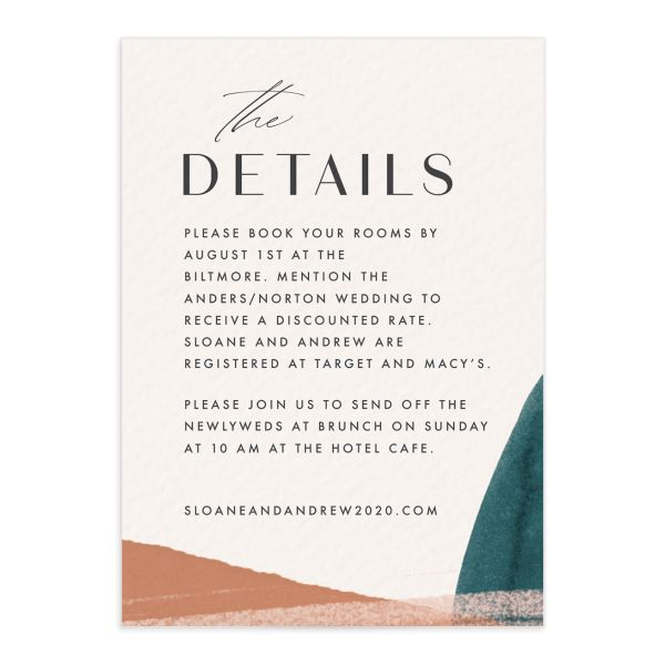 Abstract watercolor wedding enclosure card in teal front
