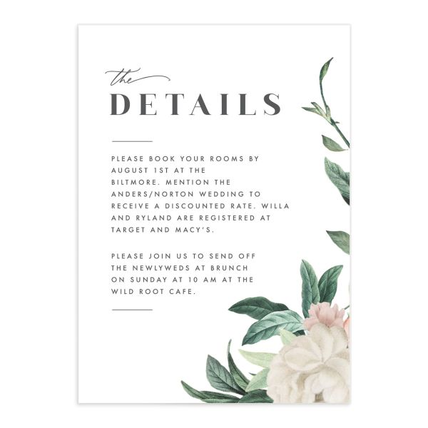 Botanica Wedding enclosure card front